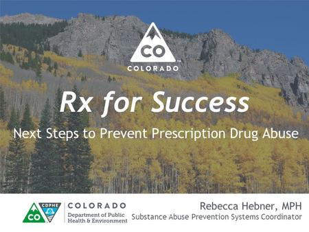 Rx for Success Next Steps to Prevent Prescription Drug Abuse Rebecca Hebner, MPH Substance Abuse Prevention Systems Coordinator.