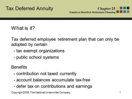 Tax Deferred Annuity Chapter 25 Employee Benefit & Retirement Planning Copyright 2009, The National Underwriter Company1 What is it? Tax deferred employee.