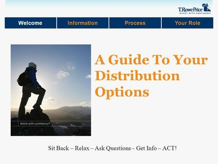 WelcomeInformationProcessYour Role Sit Back – Relax – Ask Questions – Get Info – ACT! A Guide To Your Distribution Options.