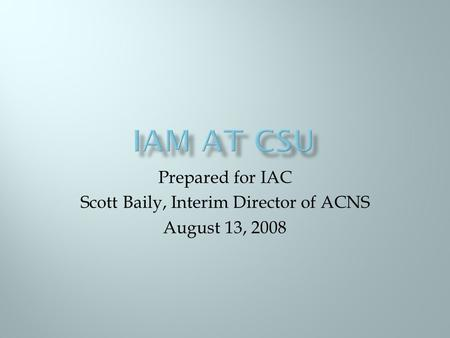 Prepared for IAC Scott Baily, Interim Director of ACNS August 13, 2008.