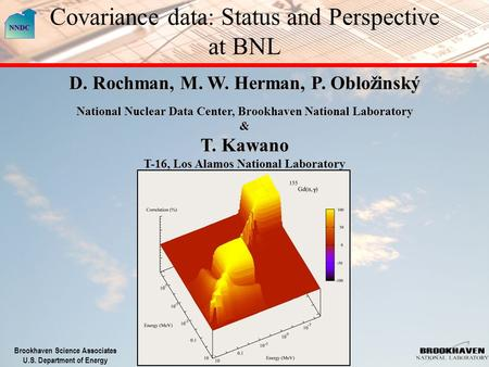 Brookhaven Science Associates U.S. Department of Energy Covariance data: Status and Perspective at BNL D. Rochman, M. W. Herman, P. Obložinský National.