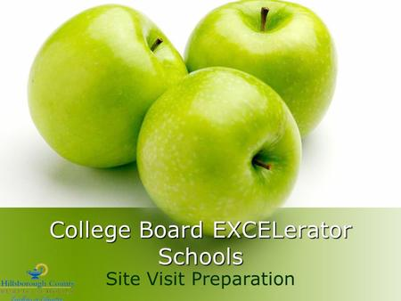 College Board EXCELerator Schools Site Visit Preparation.