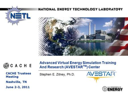 1 Advanced Virtual Energy Simulation Training And Research (AVESTAR TM ) Center Stephen E. Zitney, Ph.D. CACHE Trustees Meeting Nashville, TN June 2-3,