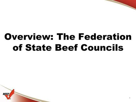 1 Overview: The Federation of State Beef Councils.