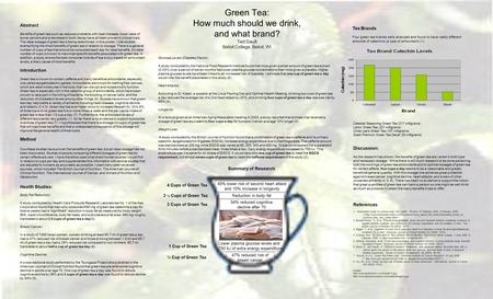 Green Tea: How much should we drink, and what brand? Ted Gault Beloit College, Beloit, WI Abstract Benefits of green tea such as reduced problems with.
