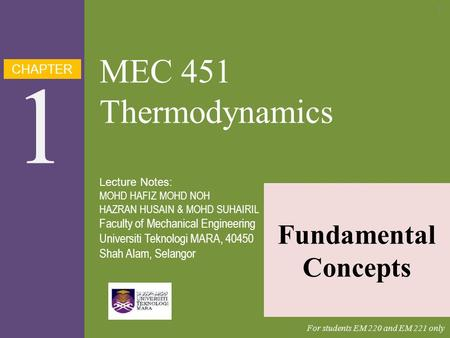 1 MEC 451 Thermodynamics Fundamental Concepts CHAPTER