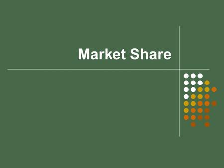 Market Share. Market share Market share is the portion or percentage of sales of a particular product or service in a given region that are controlled.