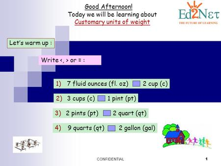 CONFIDENTIAL 1 Good Afternoon! Today we will be learning about Customary units of weight Let's warm up : Write or = : 1)7 fluid ounces (fl. oz) 2 cup (c)