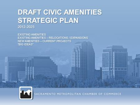 "DRAFT CIVIC AMENITIES STRATEGIC PLAN 2012-2025 EXISTING AMENITIES EXISTING AMENITIES – RELOCATIONS / EXPANSIONS NEW AMENITIES – CURRENT PROJECTS ""BIG IDEAS"""