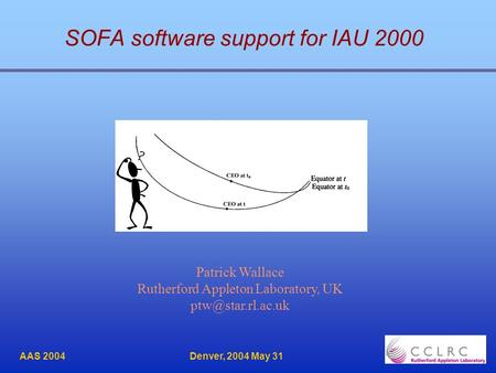 AAS 2004 Denver, 2004 May 31 SOFA software support for IAU 2000 Patrick Wallace Rutherford Appleton Laboratory, UK