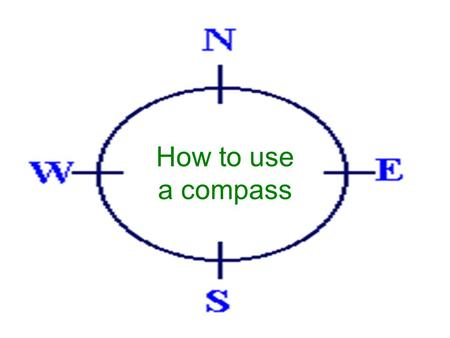 How to use a compass. The first thing you need to learn, are the directions. North, South, East and West. Look at the figure and learn how they are. North.