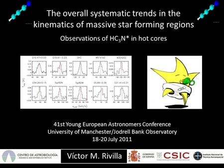 The overall systematic trends in the kinematics of massive star forming regions Observations of HC 3 N* in hot cores Víctor M. Rivilla 41st Young European.