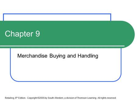 Merchandise Buying and Handling