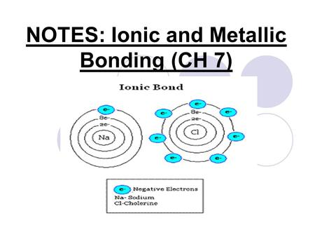 NOTES: Ionic and Metallic Bonding (CH 7). Valence Electrons: RECALL… ● Valence Electrons: The e- in the highest occupied energy level of an element's.
