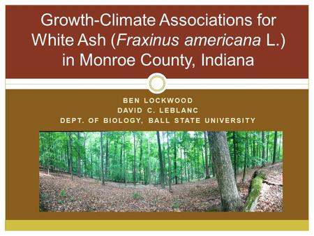 BEN LOCKWOOD DAVID C. LEBLANC DEPT. OF BIOLOGY, BALL STATE UNIVERSITY Growth-Climate Associations for White Ash (Fraxinus americana L.) in Monroe County,