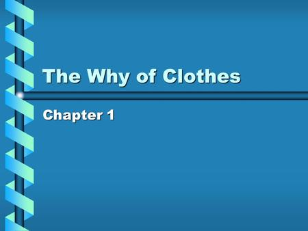 The Why of Clothes Chapter 1.