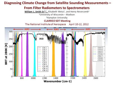 Diagnosing Climate Change from Satellite Sounding Measurements – From Filter Radiometers to Spectrometers William L. Smith Sr 1,2., Elisabeth Weisz 1,