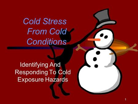 1 Cold Stress From Cold Conditions Identifying And Responding To Cold Exposure Hazards.