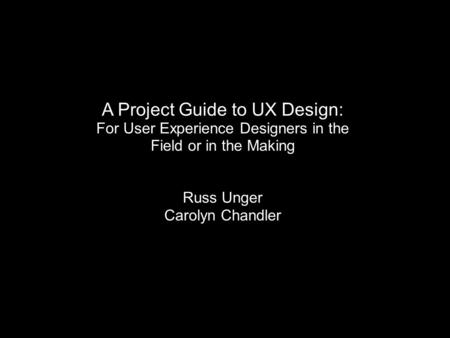 A Project Guide to UX Design:
