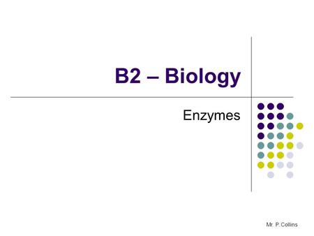 B2 – Biology Enzymes Mr. P. Collins. B2.6 Enzymes - AIMS To evaluate the advantages and disadvantages of using enzymes in home and industry Mr. P. Collins.