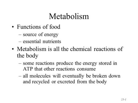 Metabolism Functions of food