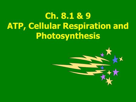 Ch. 8.1 & 9 ATP, Cellular Respiration and Photosynthesis.