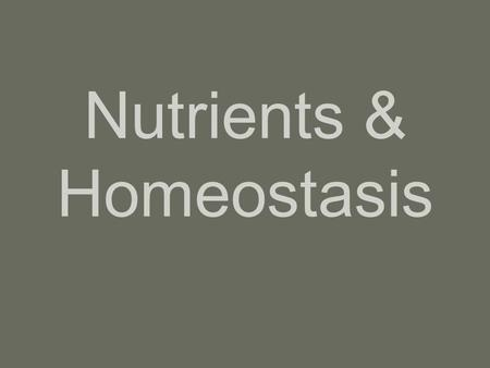 Nutrients & Homeostasis. Metabolism & Body Heat Metabolism –All of the chemical reactions of the body taken together If rxns happen fast  fast metabolism.