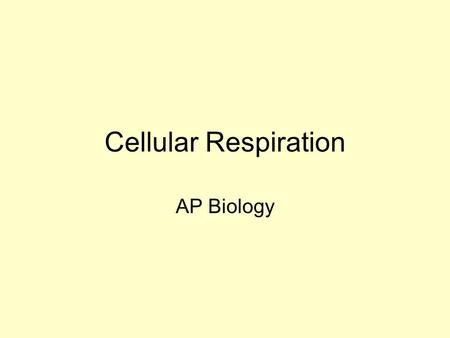 Cellular Respiration AP Biology Photosynthesis….then Photosynthesis captures the sun's energy and converts it to glucose Cellular respiration is the.