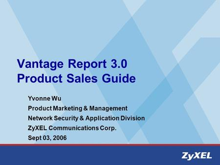 Vantage Report 3.0 Product Sales Guide