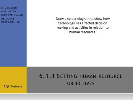 6.1.1 Setting human resource objectives