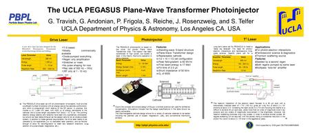 The UCLA PEGASUS Plane-Wave Transformer Photoinjector G. Travish, G. Andonian, P. Frigola, S. Reiche, J. Rosenzweig, and S. Telfer UCLA Department of Physics.