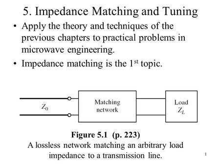 5. Impedance Matching and Tuning