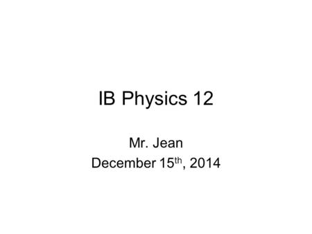 IB Physics 12 Mr. Jean December 15 th, 2014. AC vs. DC Motors: Electric motors are mostly AC because our electric energy for industry and home is transmitted.