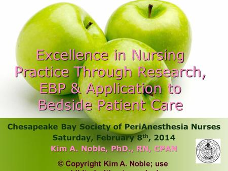 Excellence in Nursing Practice Through Research, EBP & Application to Bedside Patient Care Chesapeake Bay Society of PeriAnesthesia Nurses Saturday, February.