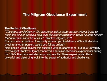 milgram experiment and lessons learned