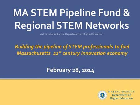 Building the pipeline of STEM professionals to fuel Massachusetts 21 st century innovation economy MA STEM Pipeline Fund & Regional STEM Networks Administered.