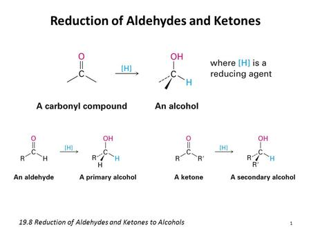 Reduction of Aldehydes and Ketones 1 19.8 Reduction of Aldehydes and Ketones to Alcohols.