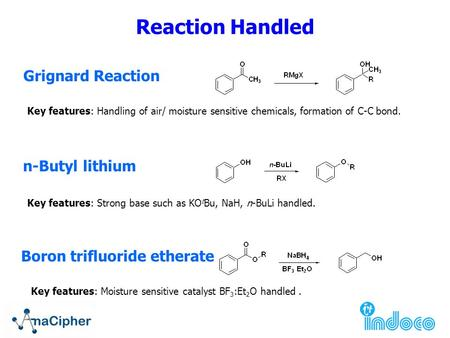 Grignard Reaction Key features: Handling of air/ moisture sensitive chemicals, formation of C-C bond. n-Butyl lithium Key features: Strong base such as.