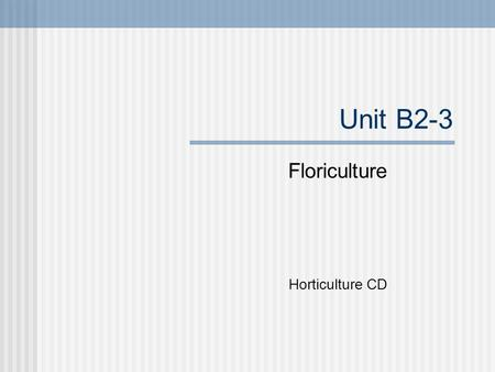 Unit B2-3 Floriculture Horticulture CD. Problem Area 2 Floral Design.