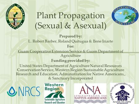 Plant Propagation (Sexual & Asexual) Prepared by: L. Robert Barber, Roland Quitugua & Ilene Iriarte For: Guam Cooperative Extension Service & Guam Department.