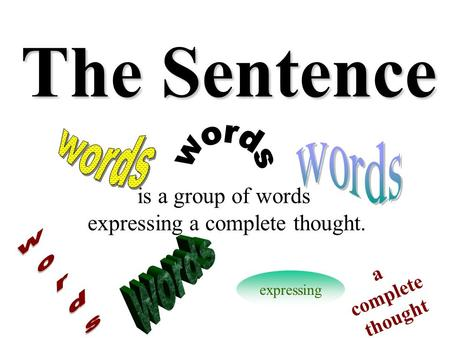 The Sentence is a group of words expressing a complete thought. expressing a complete thought.