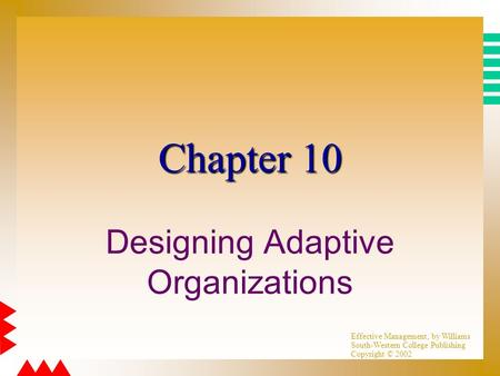 Effective Management, by Williams South-Western College Publishing Copyright © 2002 Chapter 10 Designing Adaptive Organizations.