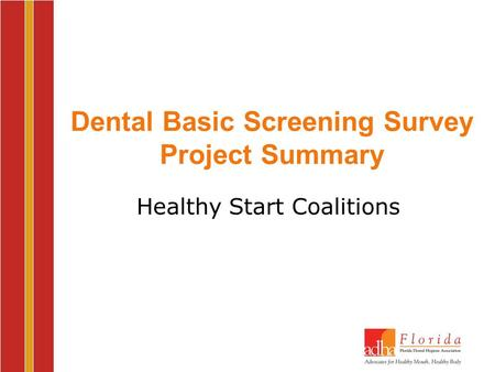 Dental Basic Screening Survey Project Summary Healthy Start Coalitions.