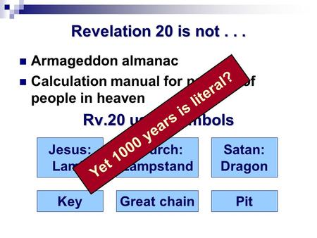 Revelation 20 is not... Armageddon almanac Calculation manual for number of people in heaven Rv.20 uses symbols Jesus: Lamb Church: Lampstand Satan: Dragon.