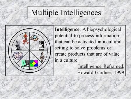 Multiple Intelligences Intelligence: A biopsychological potential to process information that can be activated in a cultural setting to solve problems.
