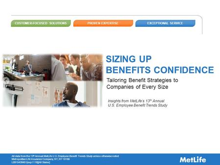 All data from the 13 th Annual MetLife U.S. Employee Benefit Trends Study unless otherwise noted Metropolitan Life Insurance Company, NY, NY 10166 L0915439451[exp1116][All.
