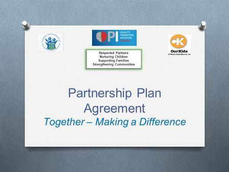 Partnership Plan Agreement Together – Making a Difference Respected Partners Nurturing Children Supporting Families Strengthening Communities Respected.