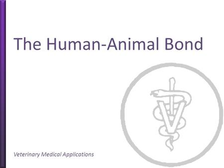 The Human-Animal Bond Veterinary Medical Applications.