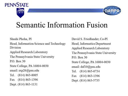 1 8 5 5 Semantic Information Fusion Shashi Phoha, PI Head, Information Science and Technology Division Applied Research Laboratory The Pennsylvania State.