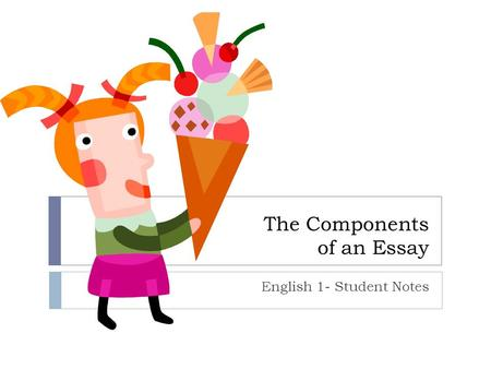 The Components of an Essay English 1- Student Notes.